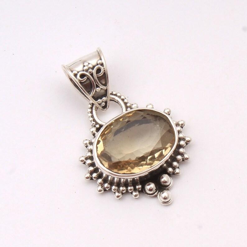 Citrine 92.5 Sterling Silver Natural Stone Pendant Pendant Gift for her Handmade Charm Valentine/'s day gift Designer Locket
