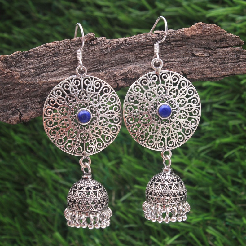 Blue Lapis Coral 92.5 Sterling silver Jhumki earrings matte finishing oxidized finishing hangings female jewelry perfect for every occasion