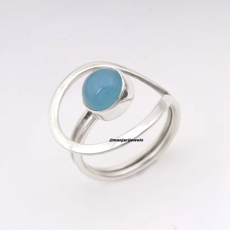 Blue Chalcedony Statement Handmade Round Gemstone Adjustable Ring 925 Sterling Silver Leaf Natural Stone Boho ring Male Female Ring