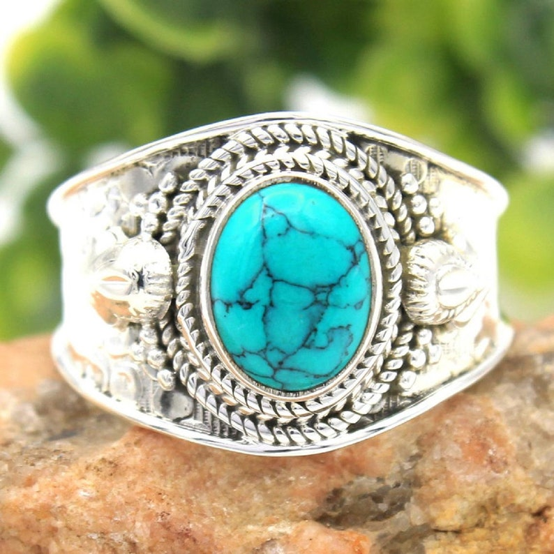 Turquoise Gemstone Handmade Oval Ring 925 Sterling Silver Ring Stone Designer Ring Natural Stone ring Male Female Ring Wedding Gift