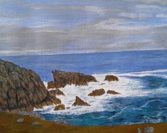 """Acrylic seascape """"Gray Sky Isle of Mull"""""""