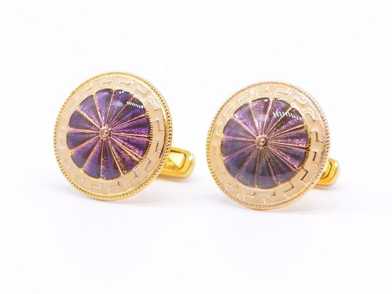 Purple ivory enamel cufflinks hand enamelled in 925 silver