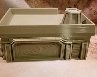 Sci-fi Garage, with alternate roof, 3D Printed, PLA , 28mm, Corvus Games Terrain