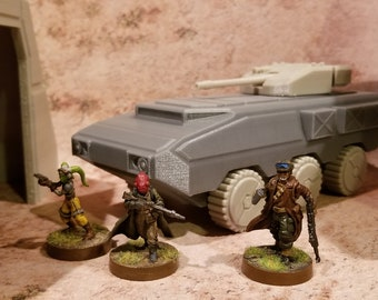 28mm Wheeled Sci-Fi APC, 3D printed, PLA, Marvel Crisis Protocol (figures and terrain not included, for marketing only)