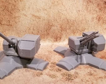 Defense Turrets, Single and Quad Barrel, Base or Vehicle mounted, 28mm, 3D Printed, Marvel Crisis Protocol (vehicles sold separately)