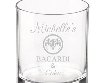 Personalised Glass Whiskey Tumbler Tinkerbell Engraved Birthday Present Gift