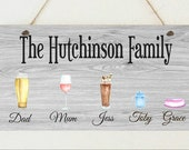 Personalised Our Family Drinks Hanging Plaque Mother 39 s Day Birthday Christmas Friend Present Gift Family Tree Alcohol