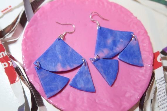 Eco friendly earrings recycled from plastic bottle lids statement earrings dangle rustic triangle geometric minimalistic