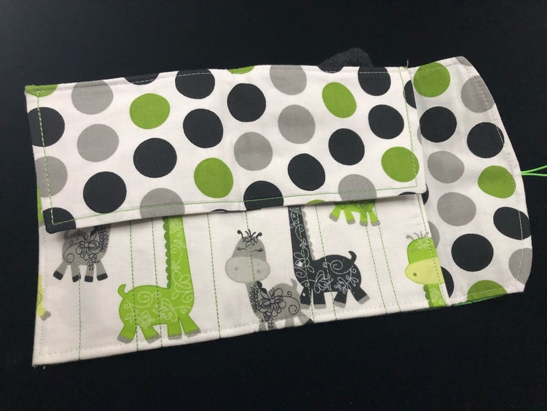 pen case, pouch, wrap, roll USA Giraffe Embroidered Hand Made 5 Pen wallet for Fountain Pens