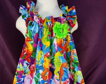 Colorful Seahorse Summer Toddler / Baby Dress