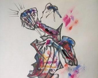 Original drawing in pencil and watercolor.