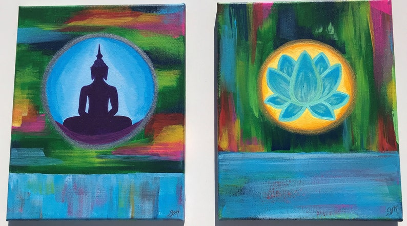 Buddha And Lotus Flower Acrylic Paintings 2 Canvas Pieces Etsy