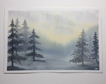 Misty Blue Forest, Original Watercolor Painting