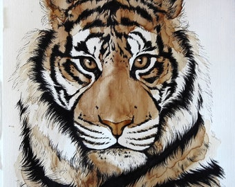 """Original hand drawn illustration with coffee and ink - """"COFFEE TIGER No1"""""""