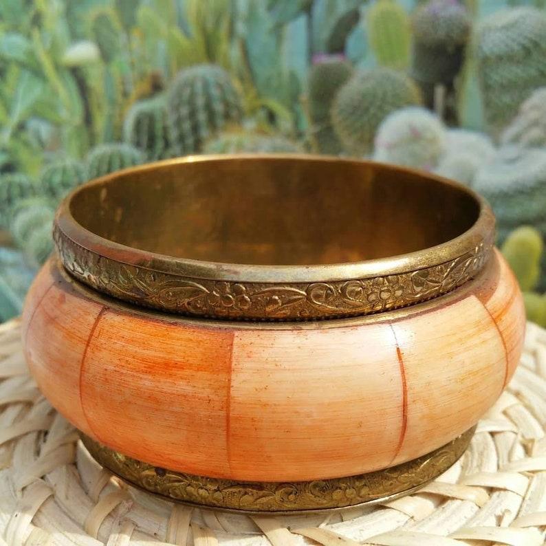 Boho jewelry Vintage Fashion Accessories Hippie Jewellery Vintage Jewellery Brass and shell Bohemian bracelet Brass boho bangle