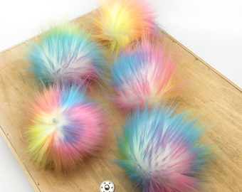 201d3da0a96 5 Pieces Rainbow Colors Faux Fur Pom Poms