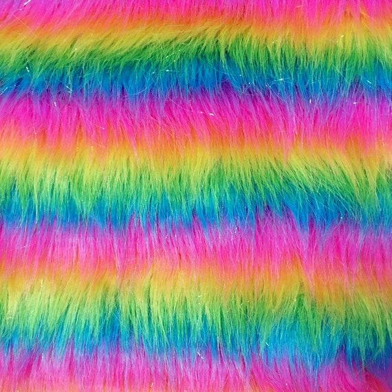 Strip Faux Fur Rainbow 59 Long Pile Faux Fur Fabric Red Green Yellow Fur