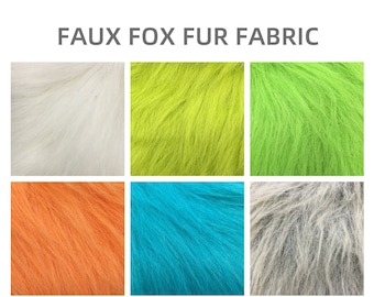 Multi Color Orange Green,Extra Long Pile Faux Fur Fabric,Soft Furry Spike Fabric for Doll Hairs,Costume Wig,Fursuit Paw,DIY Costume,Clothing