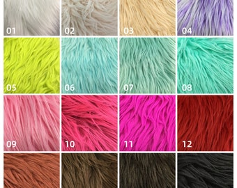 Multi Color Green Purple Pink,Long Pile Faux Fur for Slippers,Cosplay,DIY Craft,Costume,Bag,Upholstery Supply Craft Fabrics,Boots Decoration