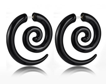Black  acrylic earring, ear plug, fake stretcher