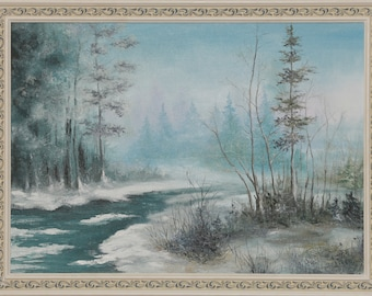 "Oil painting landscape ""Winter forest"""