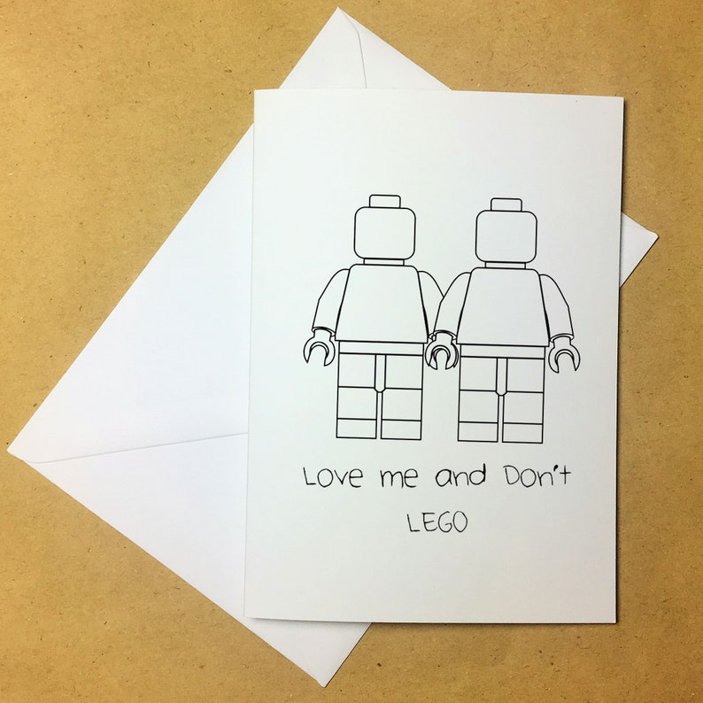 Love me and don't LEGO valentines card | Love cards | For Him/Her | Cute  card | Computer aided design greeting card | Pun | Funny Card