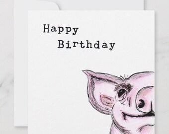 Happy Pig Birthday Sketch Art Drawing