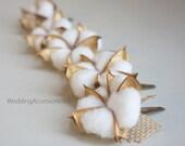 Cotton Hair Clip Fall Wedding Hair Comb Flowers Wedding Woodland Hair Clip Flower Girl Wedding Accessory