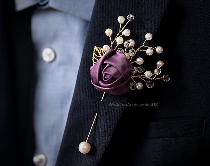 Dusty Purple Wedding Groomsmen Pin Purple Brooch Boutonniere Gold Boutonniere Dusty Purple Gold Boutonniere Purple Grooms Pin