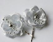 Silver Flower Wedding Hair Pins Bridal Hair Flowers Wedding Hair Piece Bridesmaid Silver Hair Flowers Flower Clips Set of 5