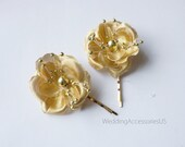Gold Flower Wedding Hair Pins Bridal Hair Flowers Wedding Hair Piece Bridesmaid Gold Hair Flowers Flower Clips Set of 5