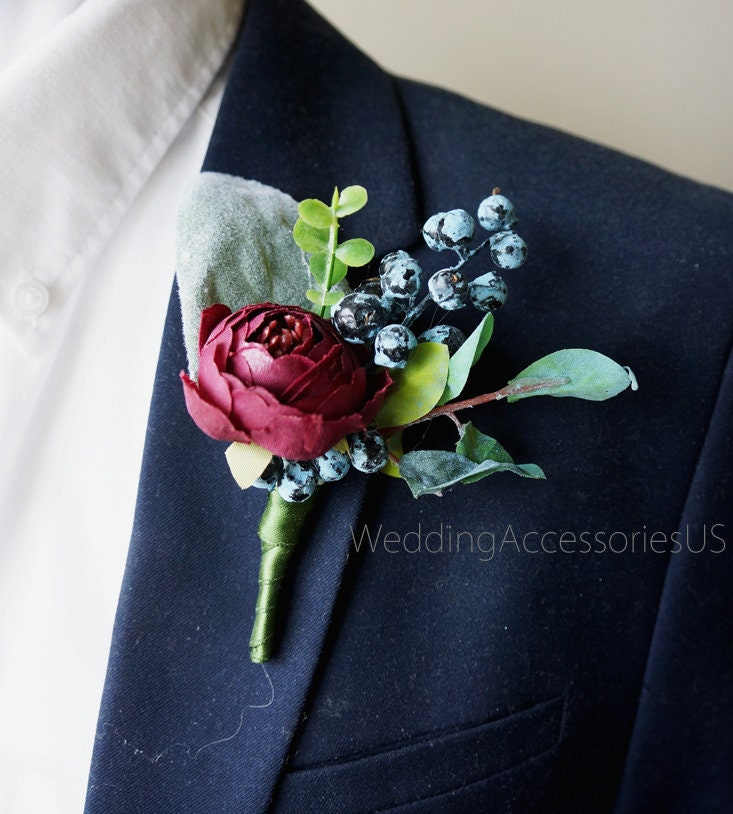 Wedding Flowers Boutonniere: Burgundy Wedding Boutonnieres Men's Boutonniere Groom