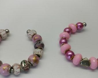 cuff lampwork bead bracelet