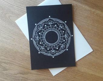 Black and white mandala card