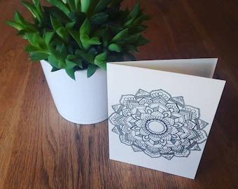 White mandala greetings card