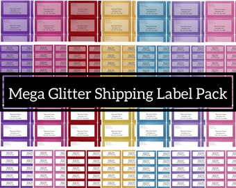 Printable glitter style Avery shipping and return address labels - fully editable bulk pack for MS Word with instant download 5160 and L7173