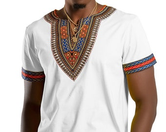 a6dac33dc African Dashiki Shirt / Dashiki print men T-shirt, Short Sleeve, V-neck, /  Available in Black, Blue, Navy blue, Maroon, Yellow, White