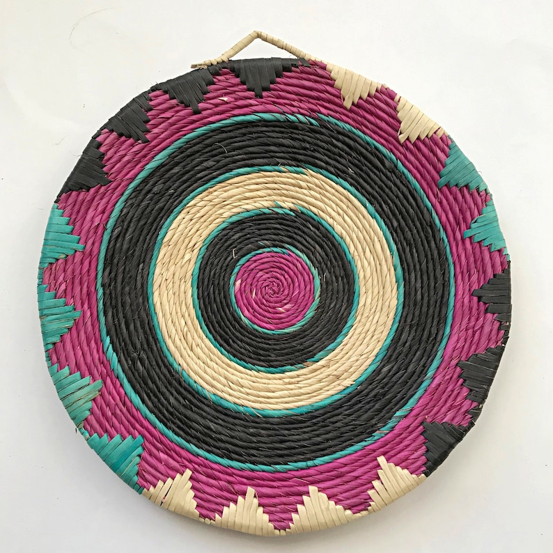 Housewarming gift Gift for mom African Wall Basket Woven trivets Flat Baskets Woven placemats Wall basket Woven Basket Kitchen decor