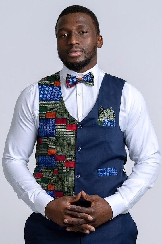 4 PC SET African Print vest set Kente Kinte Black History Men/'s