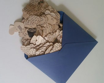 Book Page Heart Confetti made from Vintage Louisa May Alcott Book