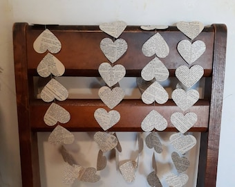 Book page Garland  / Vintage Dictionary Pages  / Paper Heart Garland