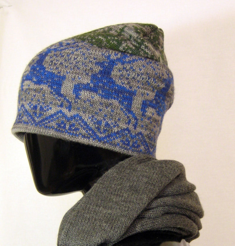 21c841c45af Blue winter hat Deer pattern Unisex beanie Knit hat Hipster