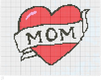 Mom tattoo cross stitch pattern