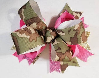 Camouflage hair bow
