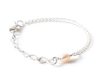 Bracelet 925 Sterling Silver with Freshwater Pearl and Infinity Design