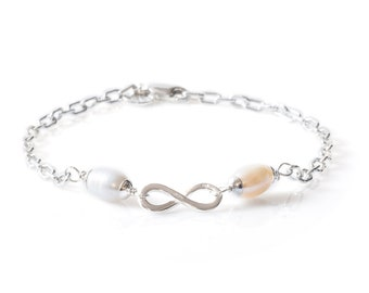 Bracelet 925 Sterling Silver with Two Freshwater Pearls and Infinity Design