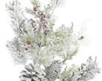 Winter Greenery Christmas Decor Christmas Spray 16 Snowy Pine Spray Winter Pine Flocked Pine Snowy Greenery The Blue Hutch 1083