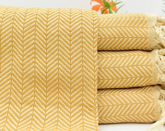 e0b2df47c Yellow Blanket, Turkish Beach Blanket, Herringbone Blanket, Mustard Blanket,  Organic Blanket, Ultra Soft Blanket 79x90 Blanket Bct-Pk-Arrow