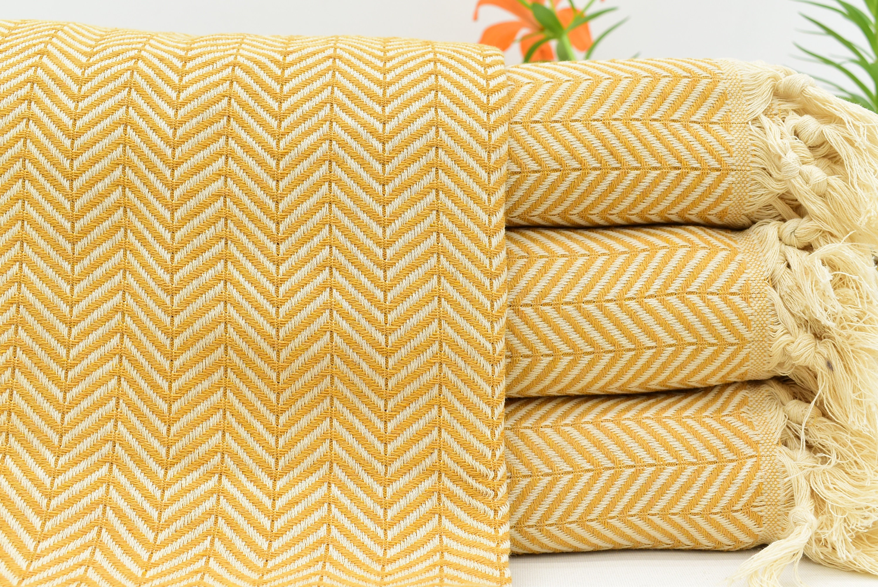 Yellow Blanket, Turkish Beach Blanket, Herringbone Blanket, Mustard  Blanket, Organic Blanket, Ultra Soft Blanket 79x90 Blanket Bct-Pk-Arrow