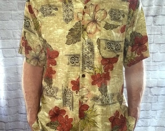 3c0b2758 Men's Caribbean Joe Hawaiian Shirt, Tan Hawaiian Shirt, Luau shirt, Tiki  Shirt, Button Up Shirt, Medium, M, Hawaiian Flowers, Casual Wear